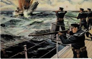 少年倶楽部絵はがき 掃海艇からの小銃で敵の機械水雷を爆破 田代光画
