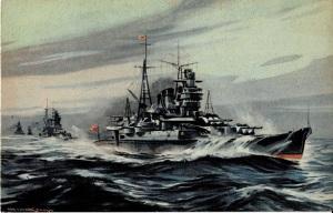 巡洋艦最上 村上松次郎画